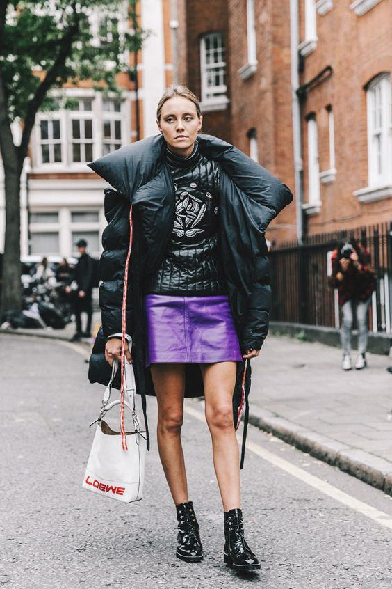 08-a-ultraviolet-leather-mini-skirt-an-oversized-puffed-coat-lacked-boots-for-a-trendy-winter-outfit